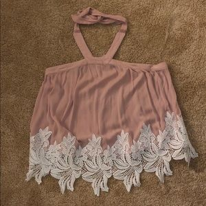 Flowy Pink Halter Top with White Lace